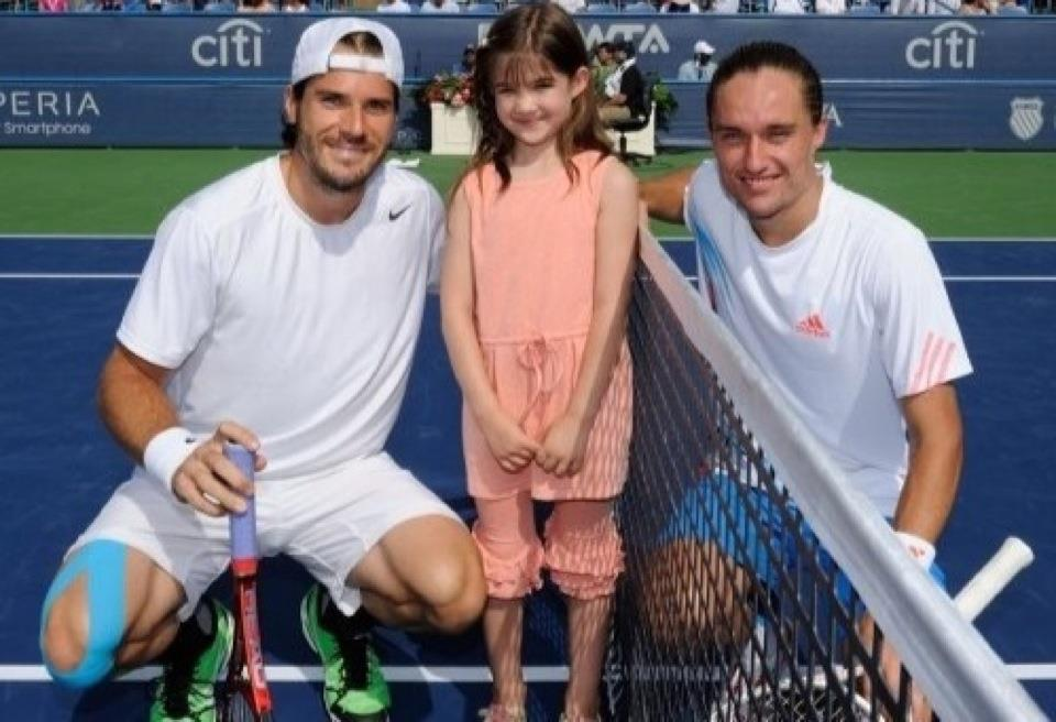 Kaitlyn on the court with Tommy Haas & Alexandr Dolgopolov at the Citi Classic Professional Tennis Tournament